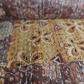 Handmade Shimmer Patchwork Kantha Quilt, Queen Size Indian Bedspread, Floral Printed Bed Cover, Reversible Kantha Throw, Printed Patches
