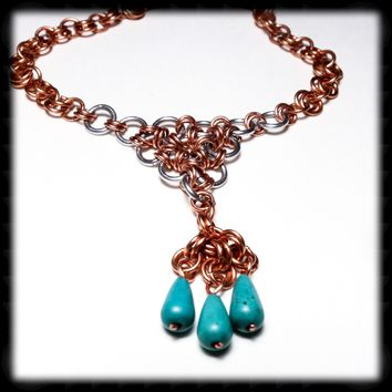 Chainmail Copper and Aluminum Necklace with Blue-Green Focal Beads