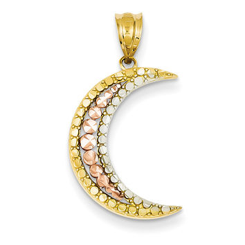 14K Yellow, Rose and Rhodium Diamond-cut Moon Pendant K3199