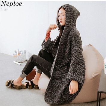 Neploe Hooded Solid Long Sweaters Korean Loose Cardigan Pockets Thick Chaqueta Mujer 2018 Autumn Warm New Fashion Knitwear 68156