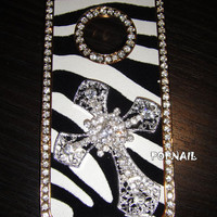 bling zebra cross iphone 5 case