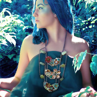 Atlantis Garden - Steampunk Goddess Breastplate Necklace with Enamel Flowers and Watch Gears