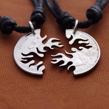 Flames Interlocking cut coin