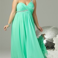 Plus Size Long Prom Dress with One Shoulder Strap with Stones Mobile