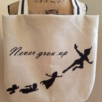Peter - pan - neverland - tinkerbell - wendy - lost - boys - canvas - lined - beach - bag - purse - tote