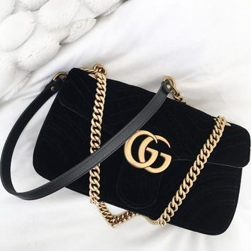 GUCCI New Fashion Women Velvet Leather Metal Chain Crossbody Satchel Shopping Shoulder Bag