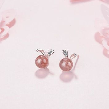 Cute Bunny Animal Exquisite Fashion 925 Sterling Silver Jewelry Personality Rabbit Ear Strawberry Crystal Stud Earrings  SE467
