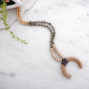 Wooden Crescent Long Necklace