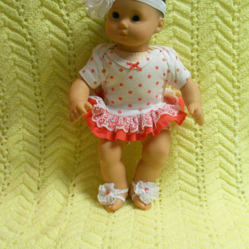 "AMERICAN GIRL Bitty Baby Clothes ""Peachy Keen"" (15 inch) doll outfit dress, diaper cover, footless sandals, and headband/hair clip"