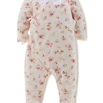 Ralph Lauren Childrenswear Velour Floral Patterned Coveralls
