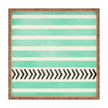 Allyson Johnson Mint Stripes And Arrows Square Tray