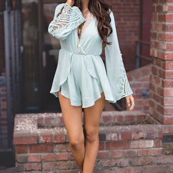 Sunny And Sweet Crochet Bell Sleeve V-Neck Romper (Sage)