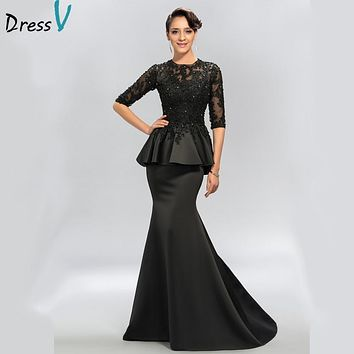 Dressv Vintage Black Mermaid Lace Long Evening Dresses Half Sleeves Beaded scoop neck long appliques evening dress prom dress