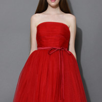 Endless Red Tulle Bustier Mesh Prom Dress Red