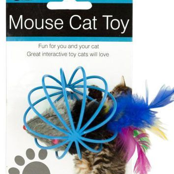 Feathered Mouse in Ball Cage Cat Toy (Available in a pack of 12)