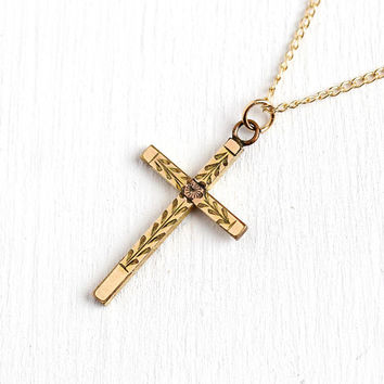Vintage Cross Necklace - 12k Yellow Gold Filled Cross Pendant - Engraved Flower Design Religous Charm Mid Century Floral 50s Jewelry