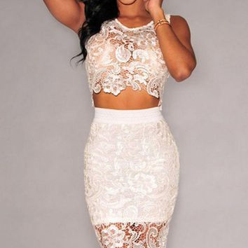 DCCKH3F Fashion hot two pieces lace hollow out dress