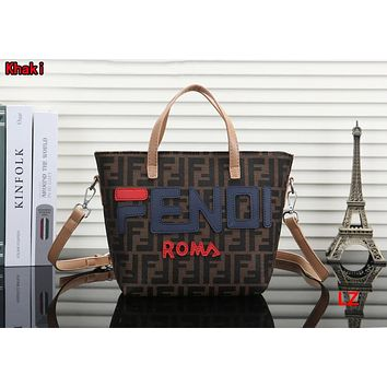 FENDI Hot Fashionable Women Leather Handbag Tote Shoulder Bag Crossbody Satchel Khaki