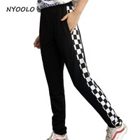 NYOOLO Novelty design streetwear pants Black and white plaid personality patchwork elastic waist hip hop pants women/men
