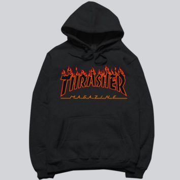 THRASHER Fashion trending flame sweater hat hooded couple lovers long-sleeved jacket Black