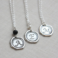Stamped Necklace, Wax Seal Necklace, Initial Necklace, Personalized Jewelry, Monogrammed Alphabet Pendant, Bridesmaid Gift, Sterling Chain