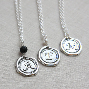 Wax Seal Necklace, Initial Necklace, Personalized Jewelry, Monogrammed Alphabet Pendant, Stamped Necklace, Bridesmaid Gift, Sterling Chain