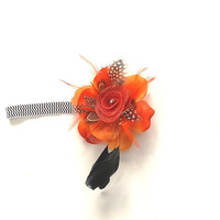 Headband, Chevron stretch with a clip on orange flower with black feathers , girl's, women's,