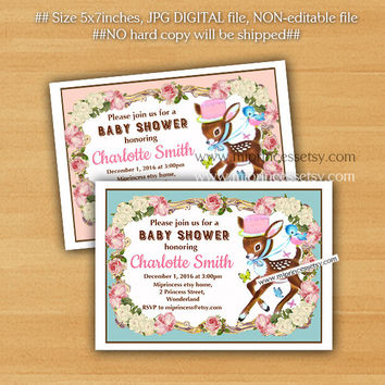 Deer baby shower Invitation, retro vintage fawn baby girl baby boy retro baby shower design shabby chic party invite - card 828