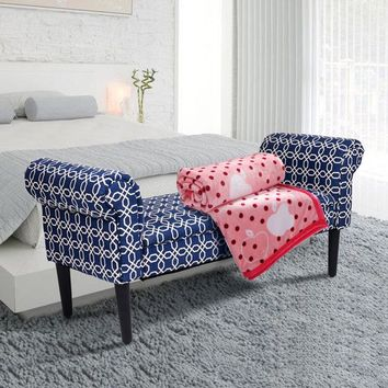 """Bed Bench Rolled Arm Home Furniture Padded Bedroom 53.5"""""""