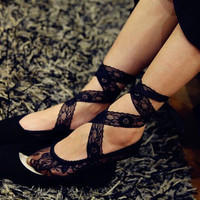 Sexy Women Ladies Lace Cotton Thin Sock Anti Skid No Show Low Cut Footsies Lace-Up Boat Socks