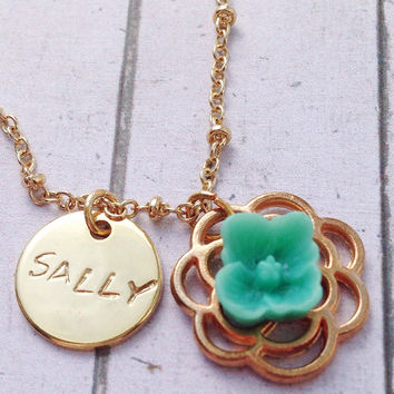 Personalized Gurl's Necklace. Green Wedding Necklace от SimplyAGem