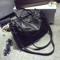 Vintage Retro Ladies Motorcycle Bag Soft Black Leather Handbag Crossbody Shoulder Bag