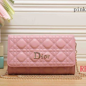 DIOR Women's Fashion Leather Handbag Clutch F-RF-PJ Pink