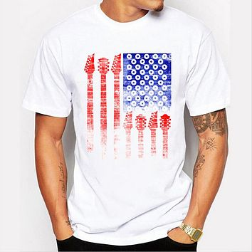 Summer Personalized Men's T-shirt American flag design printing tide T shirt