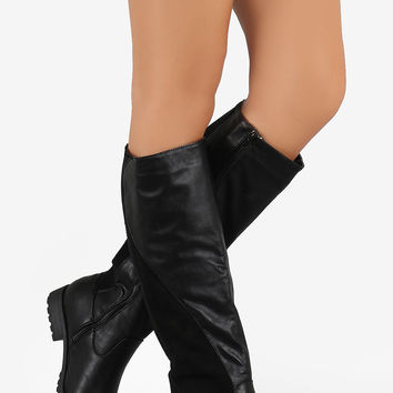 Elasticized Panel Riding Knee High Boots - Black