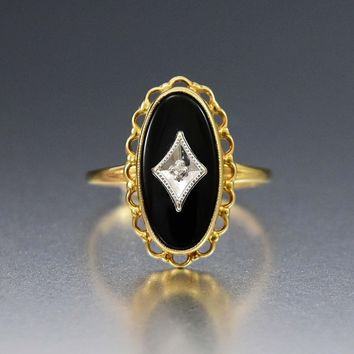 10K Yellow Gold Vintage Diamond Onyx Art Deco Style Ring