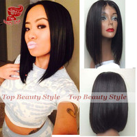 Fashion Free Shipping Silky Straight Short Cut Bob Wigs With Baby Hair Heat Resistant Synthetic Lace Front Wig For Black Women