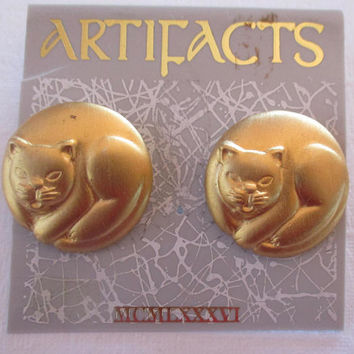 Vintage JJ Jonette Jewelry earrings -Kitty Cat-unique gift for her- Cat lover gift- Artifacts collectible made in the USA 1986