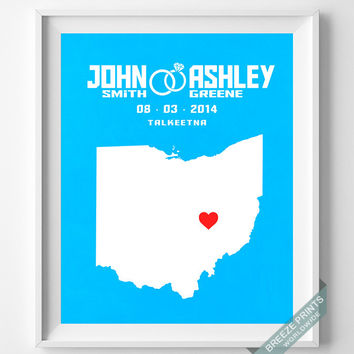 Personalized, Print, Ohio, Wedding, Anniversary, Customized, Couple, Gift, Map, Custom, Wall Art, Home Decor, Marriage, Love [NO 34]