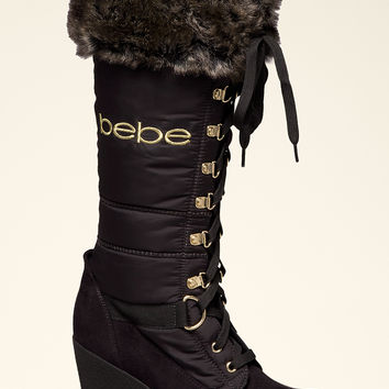 bebe Womens Rhea Puffy Logo Boots
