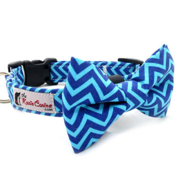 Navy Blue and Turquoise Chevron Dog Collar ( Dog Collar Only - Matching Bow Tie Available Separately)