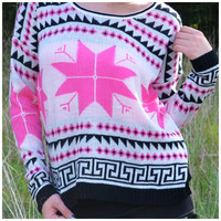 Magestic Mountain Pink Snowflake Winter Sweater