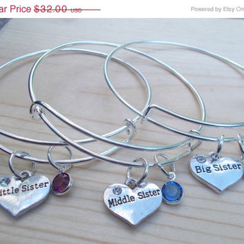 ON SALE 3 Pc Silver Sisters Bangle Bracelet Set, Big Sister , Middle Sister, And Little Sister, Sister Gifts, Sisters Forever