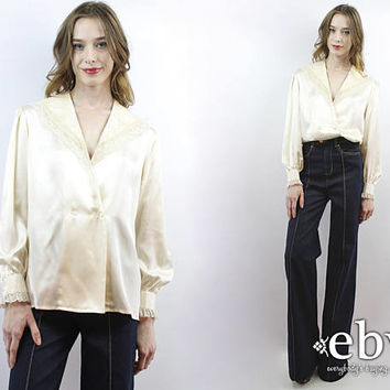 Cream Silk Blouse Cream Blouse Lace Blouse Longsleeve Blouse Secretary Blouse 90s Blouse 1990s Blouse Tuxedo Blouse Cream Satin Blouse M L