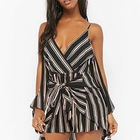 Selfie Leslie Striped Open-Shoulder Romper