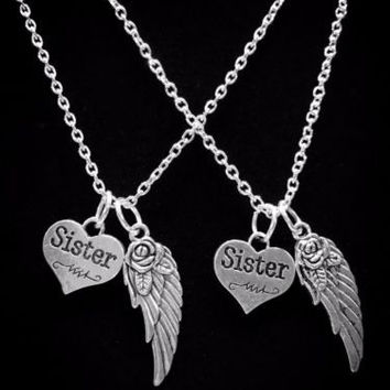 2 Necklaces Angel Wing Sister Sisters Gift Charm Necklace Set