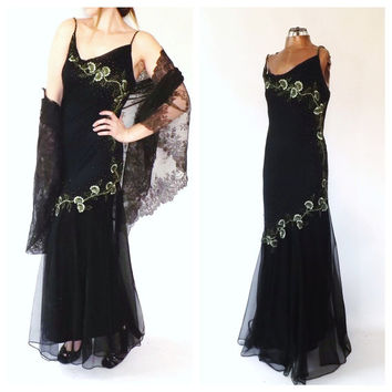 Vintage 90s does 1920s Gown 1930s Art Deco Dress Embroidered Silk Gown Net Lace Black Green Beaded Maxi Gown 1930s Bias Cut Gatsby Dress