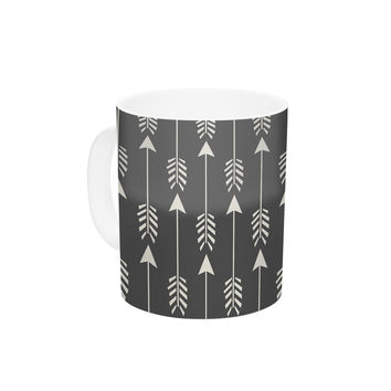 "Amanda Lane ""Tribal Arrows Dark Gray"" Ceramic Coffee Mug"