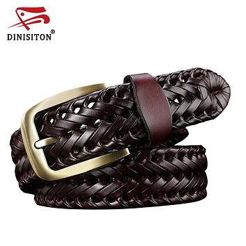 Woven belt genuine leather women's straps man belts Wide girdle Male cow skin vintage fashion cincture lemme