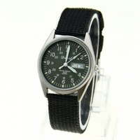 Military Style Glow in The Dark Water Resistant Quartz Watch with Canvas Strap (Black)